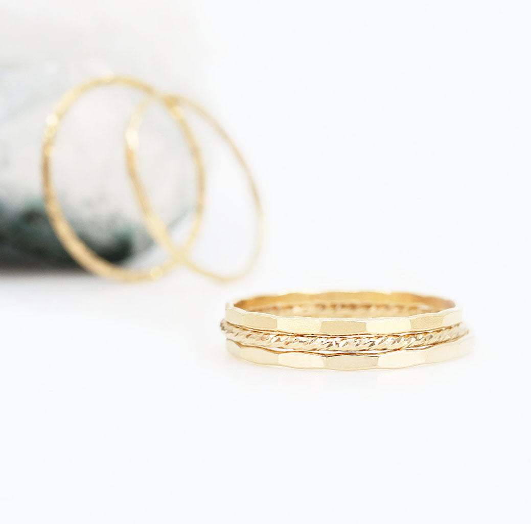 Dainty Gold Ring Trio