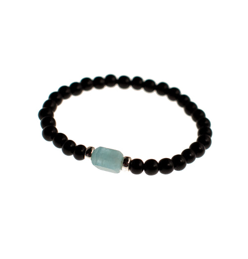 Protection Bracelet | Aquamarine and Black Ebony