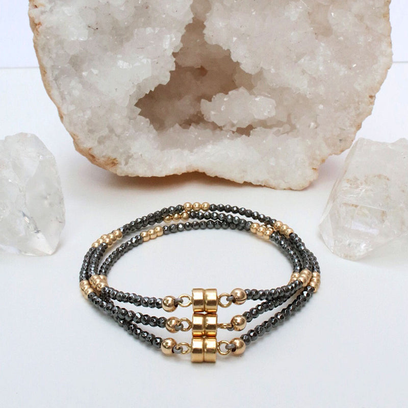 Dainty Clarity Bracelet | Hematite and Gold