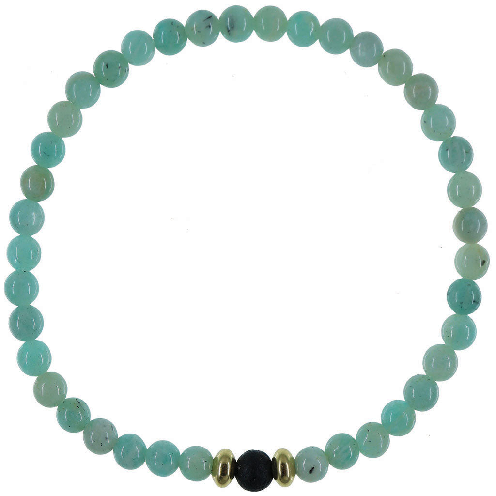 Dainty Courage Diffuser Bracelet | Amazonite and Gold