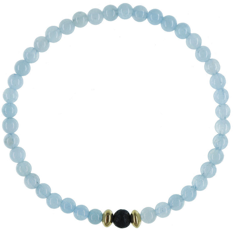 Dainty Calm Waters Diffuser Bracelet | Aquamarine and Gold