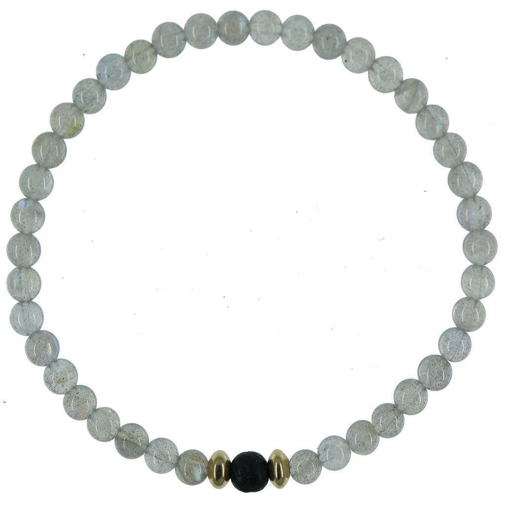 Dainty Aura Diffuser Bracelet | Labradorite and 14K Gold