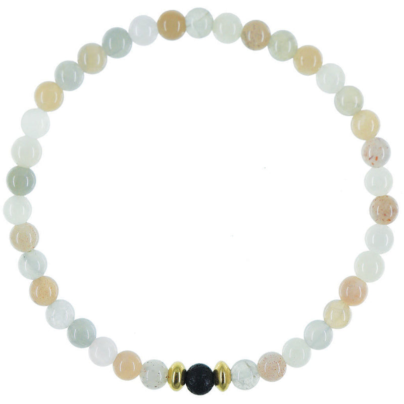 Dainty Balancing Diffuser Bracelet | Multi Moonstone and Gold