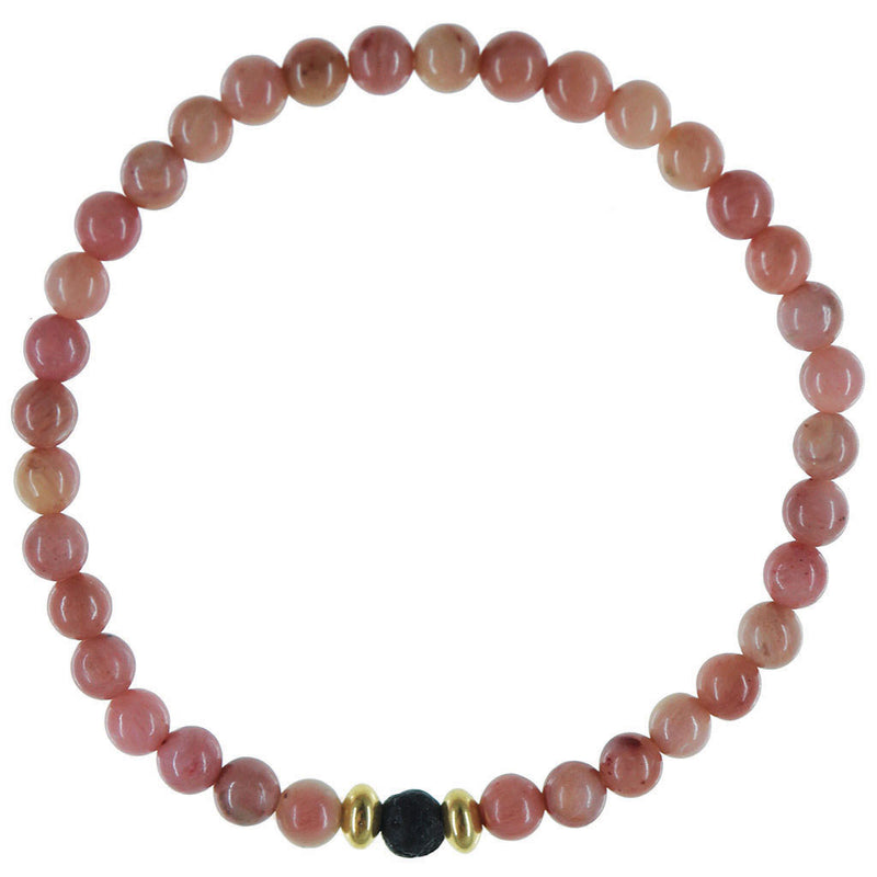 Dainty Forgiveness Diffuser Bracelet | Rhodochrosite and 14K Gold