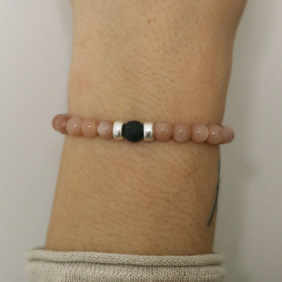Rose Moon Diffuser Bracelet | Pink Moonstone and Sterling Silver