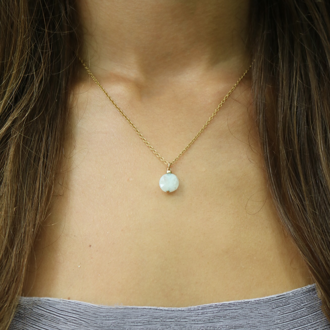Full Moon Necklace | Moonstone and Sterling Silver