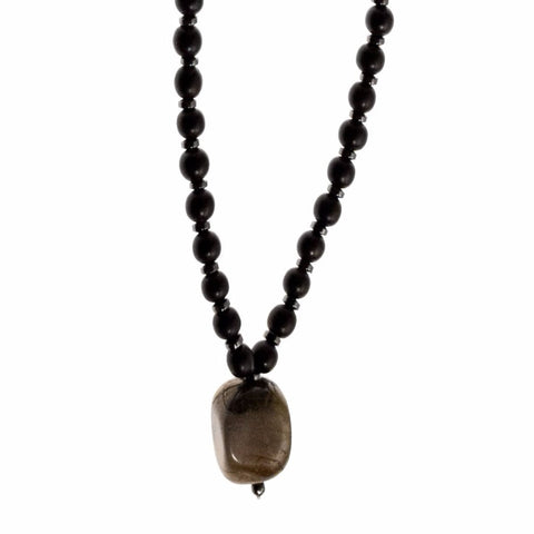 Pyrite Mala with Black Ebony and Hematite