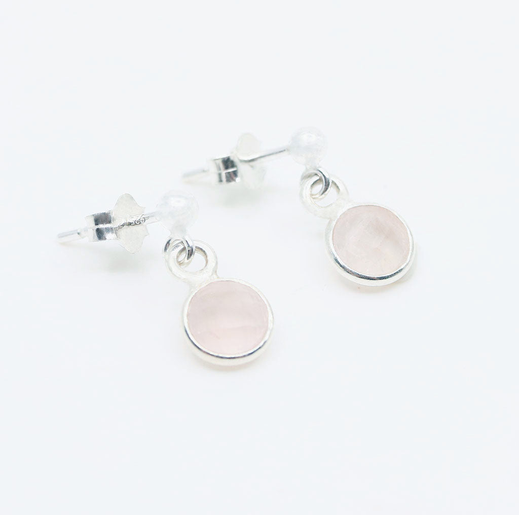 Love Charmed Earrings | Rose Quartz and Silver