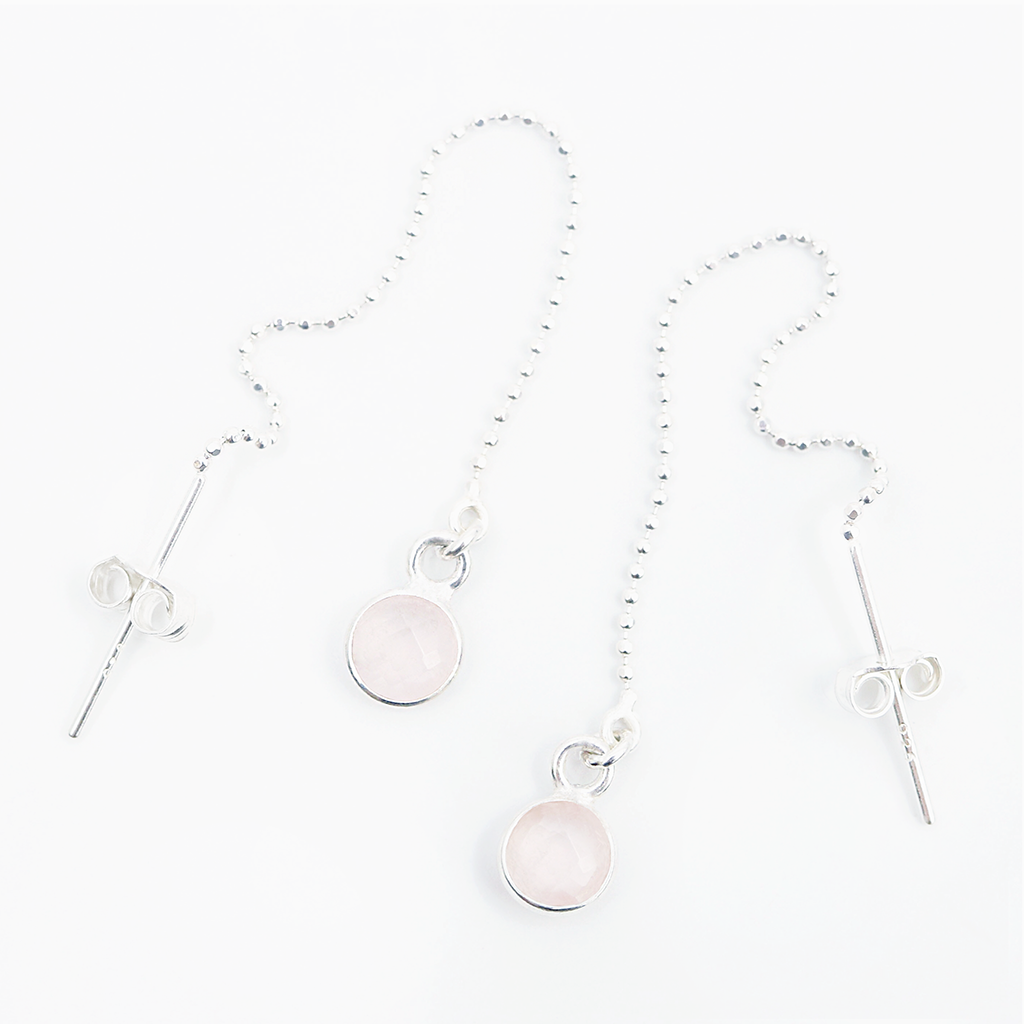 Love to Love Drop Earrings | Rose Quartz and Silver