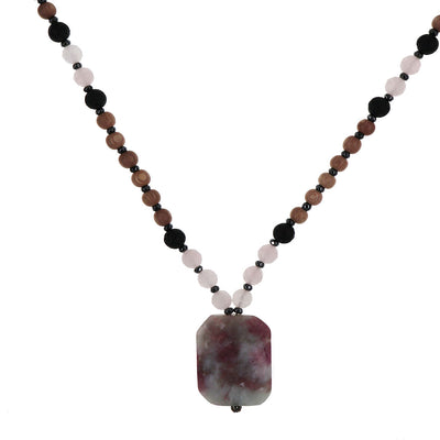 Invoking Love Mala | Rose Quartz with Rosewood and Lava