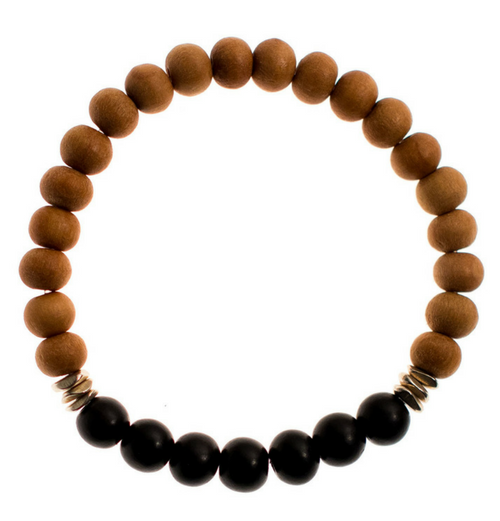 Balance Bracelet | Black Ebony with Sandalwood and Brass Bracelet