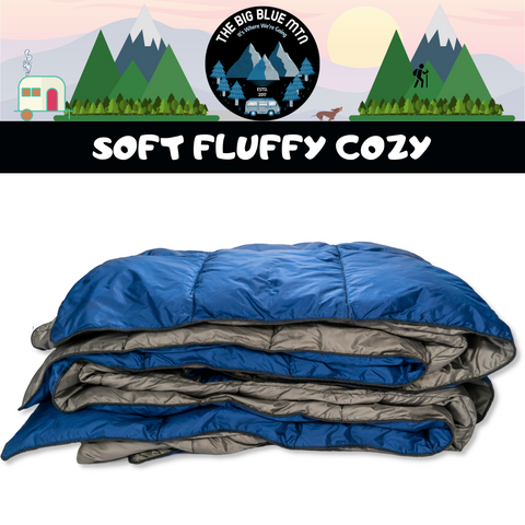 Lazy Bear Puffy Camping Blanket - Navy Grey