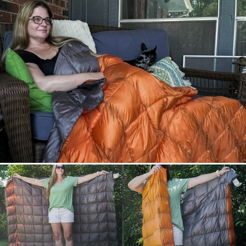 Image of Lazy Bear Puffy Camping Blanket - Orange Grey