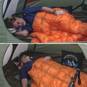 Lazy Bear Puffy Camping Blanket - Orange Grey