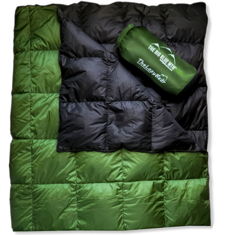 Lazy Bear Down Camping Blanket 650 FP - Green Black