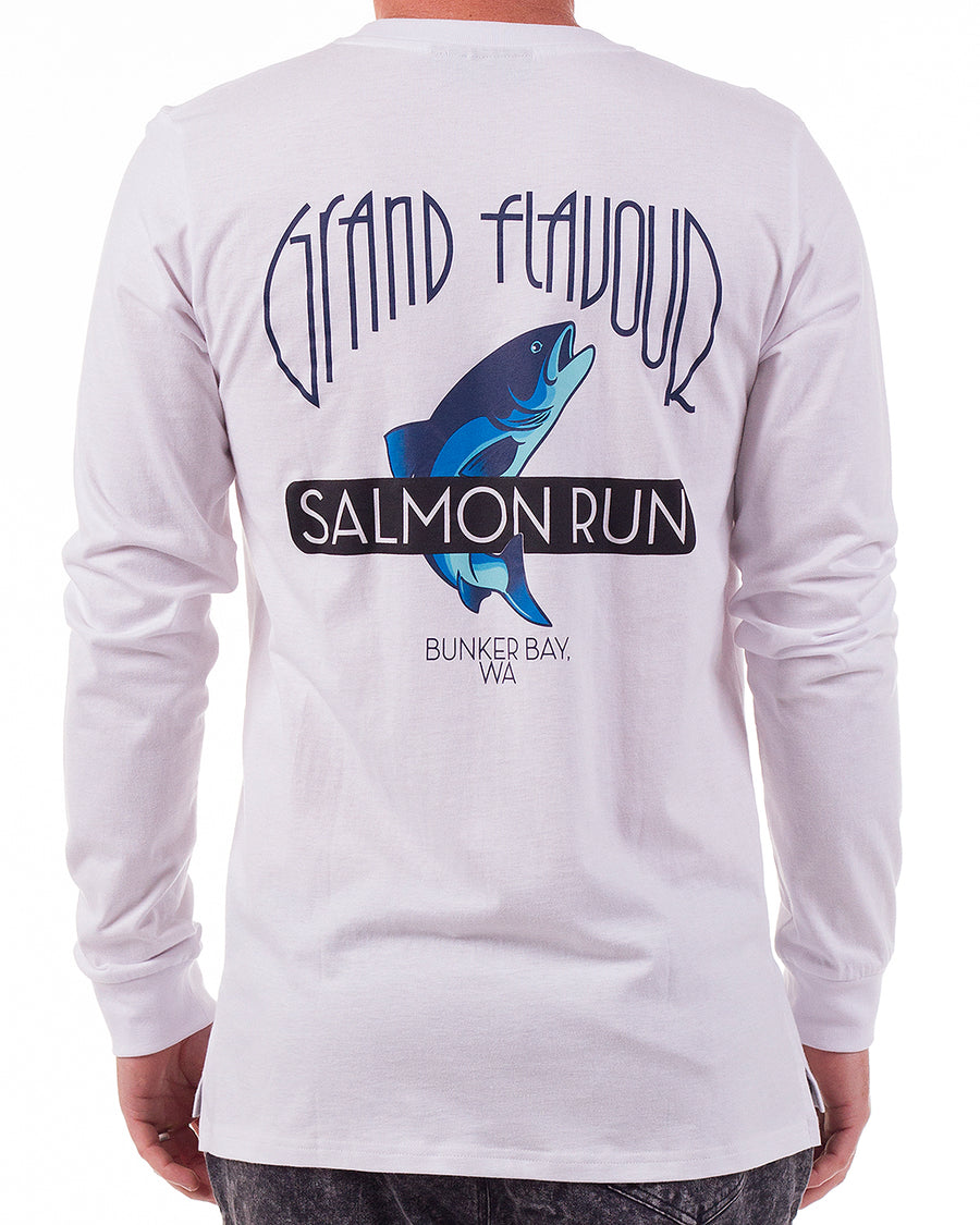 Sally the Salmon LS tee White