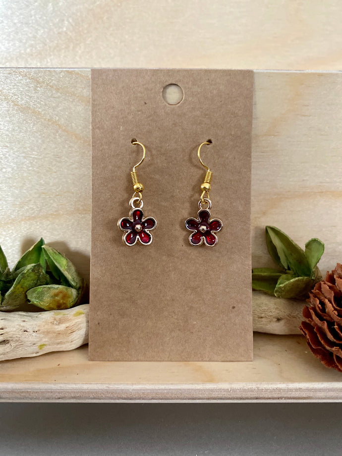 Ruby Red Petite Flower Earrings