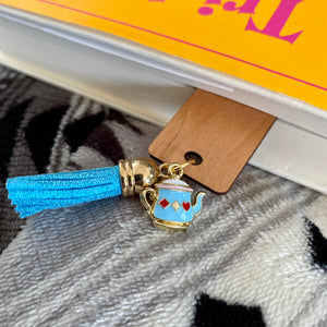 Blue Teapot Charm with Blue Tassel Wooden Bookmark