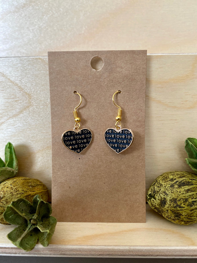 Heart-Shaped love Earrings Black and Gold