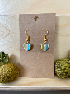Striped Heart-Shaped Earrings (2 Colors Available)