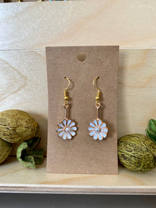 Flower with Pearl Center Drop Earrings (Assorted Colors)