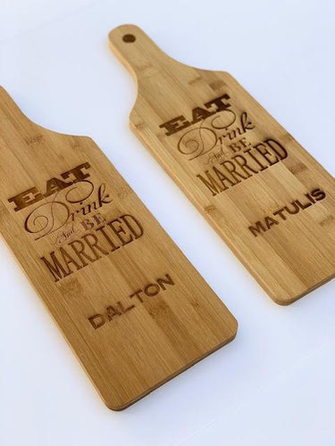 Eat, Drink & Be Married Charcuterie / Cutting Board with Family Name