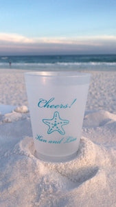 Starfish with Two Lines of Text - 16 oz. Shatterproof Cups