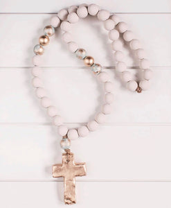 Large White Blessing Beads - Cross