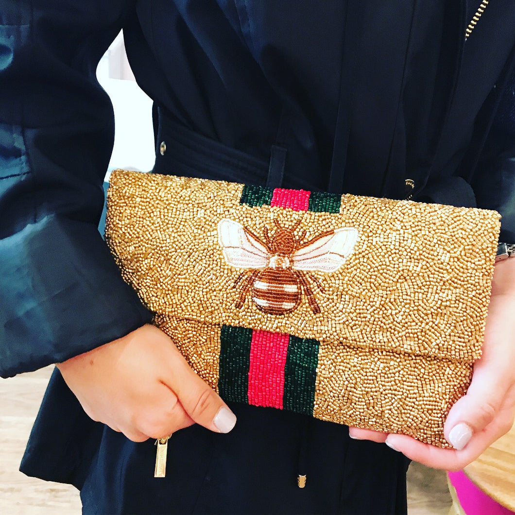 Gucci Inspired Beaded Bee Clutch