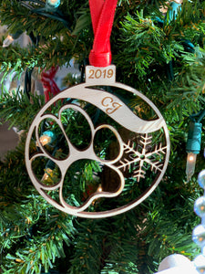 Personalized Cat Dog Pet Paw Print Ornament