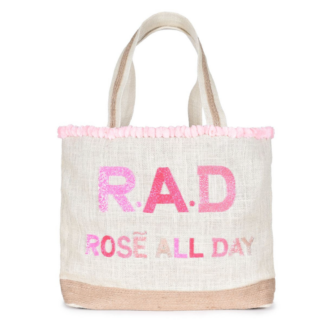Yes Way Rosé Beaded PomPom Tote Bag