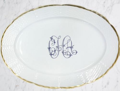 Nicholas 24K Gold Rim Oval Platter with Monogram