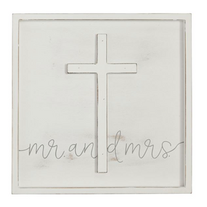 Mr. & Mrs. Cross Framed Wood Plaque