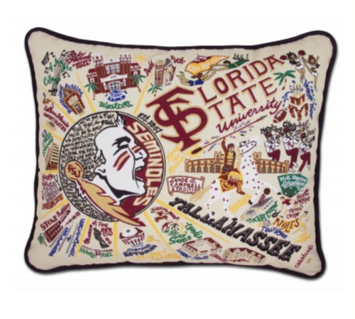 FSU Hand-Embroidered Pillow