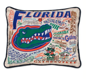 University of Florida Hand-Embroidered Pillow