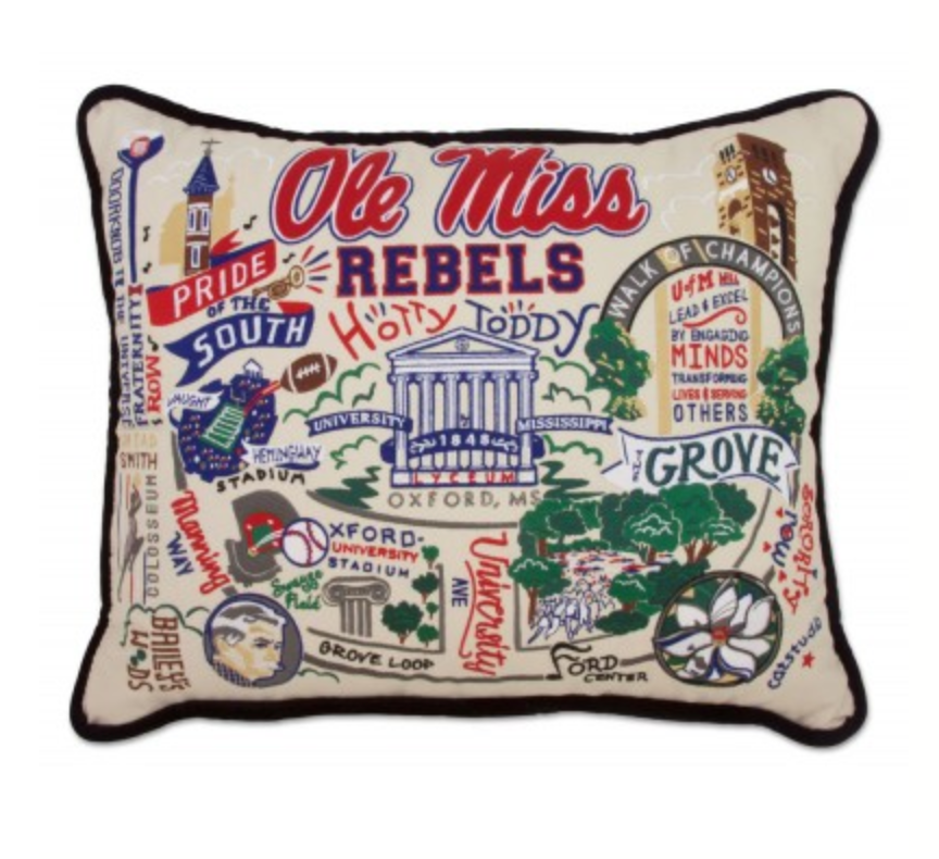 Ole Miss Hand-Embroidered Pillow