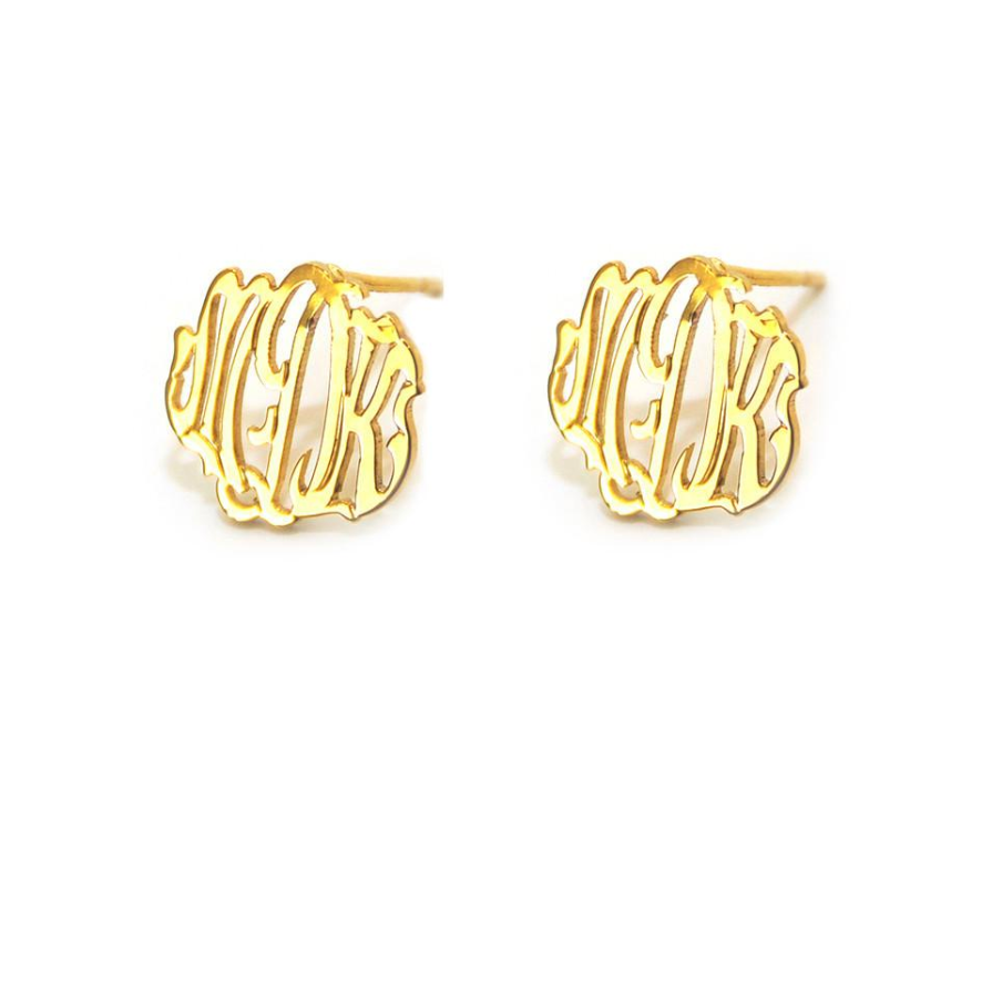 Cheshire Handcut Monogram Post Earrings