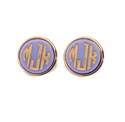 Vineyard Round Monogram Post Earrings