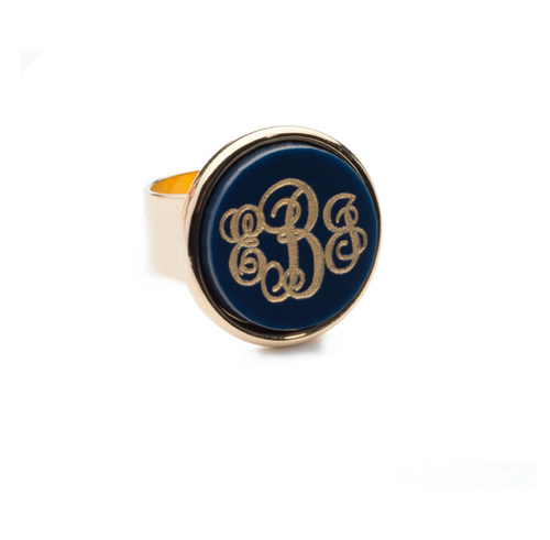 Vineyard Round Monogram Ring