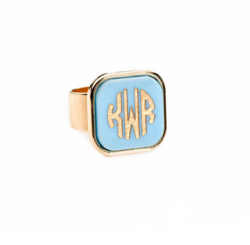 Vineyard Square Monogram Ring