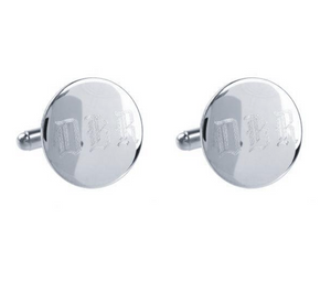 Engraved Round Monogram Cuff Links