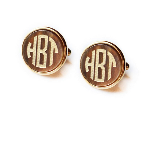 Vineyard Round Monogram Cuff Link