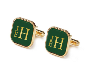 Vineyard Square Cuff Links with Stacked Font