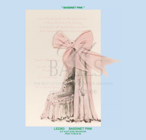 """Bassinet Pink"" Baby Invitation"
