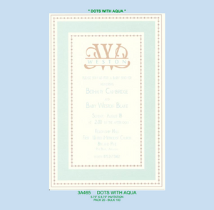 """Dots with Aqua"" Invitation - Baby"