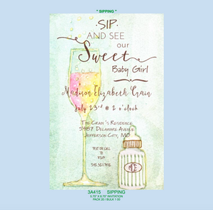 """Sipping"" Invitation - Baby"
