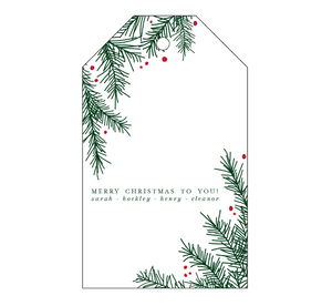 Christmas Holly Letterpress Personalized Holiday Gift Tag - T99
