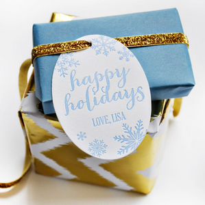 Happy Holidays Letterpress Personalized Holiday Gift Tag - T51