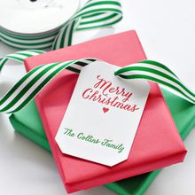 Merry Christmas Letterpress Personalized Holiday Gift Tag - T104