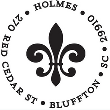 Fleur De Lis Return Address Round Self-Inking Stamper or Embosser